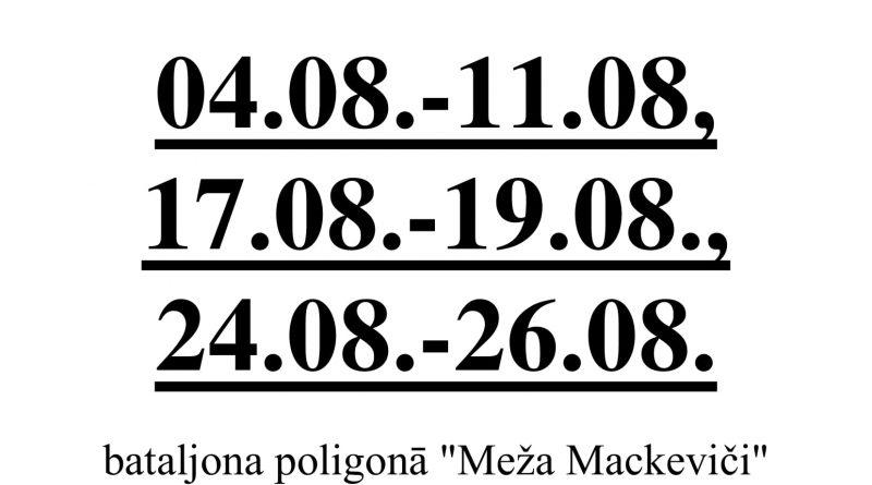 """Par apmācību organizēšanu  poligonā """"Meža Mackeviči"""" 2018. gada augustā"""