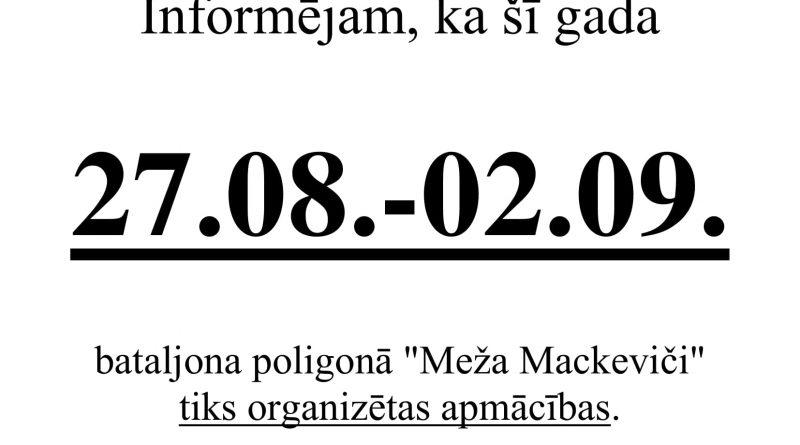 """Par apmācību organizēšanu poligonā """"Meža Mackeviči"""" no 27.08.2018. līdz 02.09.2018."""