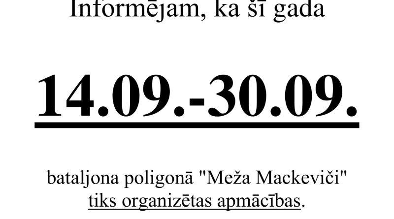 """Par apmācību organizēšanu  poligonā """"Meža Mackeviči"""" no 14.09.2018. līdz 30.09.2018."""